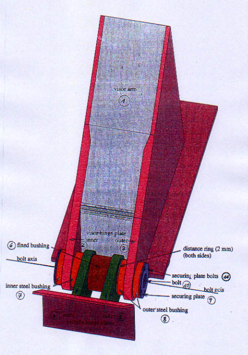 ... the port outer part of the visor hinge plate still shows circumferential drilling marks. The sketch below shows the hinge arrangements in detail. & visor \u0026 ramp installations